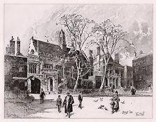 """HERBERT RAILTON 1800s Original Etching """"Historic Gray's Inn"""" SIGNED Framed COA"""