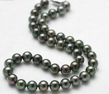 "18""9-10MM GENUINE NATURAL TAHITIAN BLACK perfect round PEARL NECKLACE 14k"