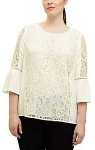 Phase Eight Studio 8 Ladies 22 Blouse Top Ivory Anna Lace Fluted Sleeve RRP £75