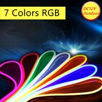 DC12V RGB Neon LED Rope Light Flex Strip Commercial Boat Bar Sign Decor Outdoor