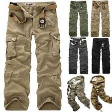 Mens Cargo Work Trousers Army Military Combat Multi Pockets Retro Canvas Pants