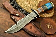 Custom Handmade Damascus Steel Blade Hunting Bowie Knife   Stained Camel Bone