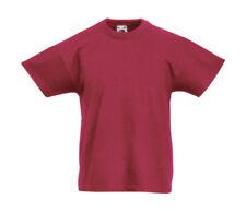 Vêtements rouges sans motif à longueur de manche manches courtes pour garçon de 2 à 16 ans