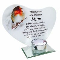 New Memorial Festive Christmas Glass Robin T-Light Candle Holder Plaque Ornament