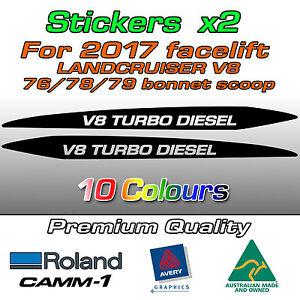 V8 TURBO DIESEL Sticker for 2017-on Landcruiser 76 70 78 79 series bonnet scoop