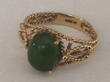 14k Gold Green GEMSTONE Ring Size 6 Vintage ESTATE Jewelry