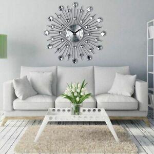 Sunburst Metal Crystal Wall Clock Large Modern Home Art Decor 33cm Battery Watch