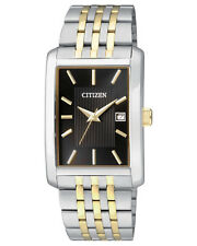 Mens Citizen Quartz Square Gold Silver Stainless Black Dial Watch BH1678-56E