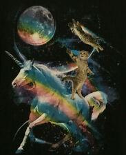 Vintage Awesomeness Shirt! Crazy Kitten Kitty Cat Unicorn Rainbow size Large WOW