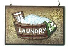 "Retro Primitive Vintage Crackle Wood 3 dim Laundry Room Wall Decor Sign 5.5x3.5"""