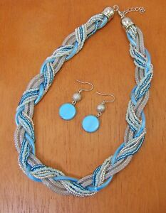 Turquoise Seed Bead and Silver Mesh Chain Necklace and Earring Set - NEW