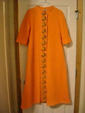 VINTAGE EVELYN PEARSON Mid Century Tangerine Japan Pagoda Quilted Housecoat S
