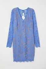 NWT - Elegant and Beautiful Periwinkle-Blue H&M Fitted Lace Dress, Size 12