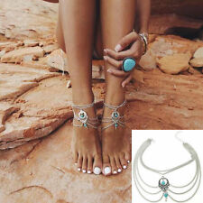 Boho Beach Turquoise Beads Tassel Chain Anklet Jewelry Barefoot