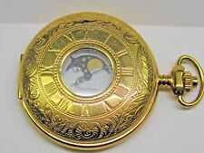 Vintage Gents Classique Date Moon Face Quartz Yellow Gold Plated Pocket Watch