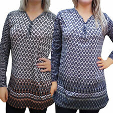 Geometric Scoop Neck Tops & Shirts Plus Size for Women