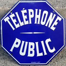Old octagonal blue French enamel steel sign plaque plate notice public telephone
