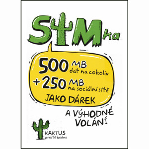 Kaktus / T-Mobile Czech non registered SIM CARD + 100 Kč and 500 MB simcard 3in1