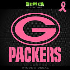 Packers NFL -  Breast Cancer Awareness Pink Vinyl Sticker Decal 5""