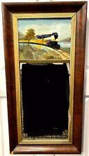 19th Century Mahogany Empire Mirror With Railroad/Train Reverse Painting
