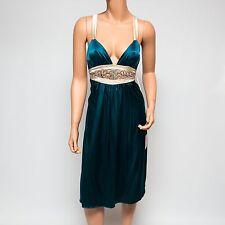 NWT Ingwa Melero Teal Rhinestone Embellished Charmeuse Silk Verdi Dress 33 CVD S