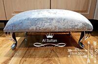 Foot Rest Pouffe Stool QueenAnne Legs British Made silver Crushed Glitz Velvet