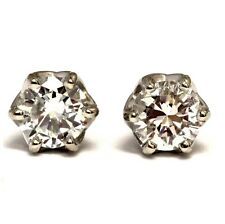 GIA certified .55ct SI2 G round diamond stud earrings 6 prong lace solitaire