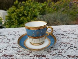 Antique European porcelain Turquoise with gilt and Enamel Jewels cup and saucer