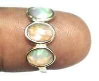 Gemstone Natural Fire Opal  925 Sterling Silver Ring Size 7