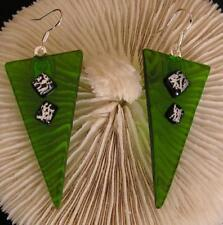 """HANDMADE DICHROIC + ART GLASS EARRINGS: """" FOREST-GREEN with FEATURE DICHROIC!"""""""