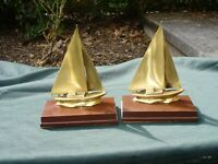 BRASS SAILBOAT NAUTICAL BOAT BOOKENDS MIDCENTURY MODERN VINTAGE USA MCM