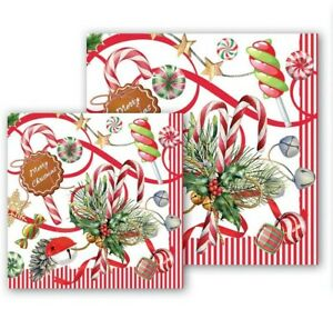 Michel Design Works ~~ Peppermint Paper Napkins ~~  Luncheon  OR  Cocktail  Size