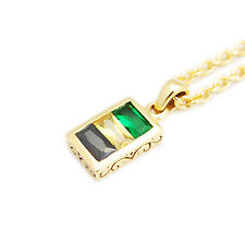 Cubic Zircon 24K Yellow Gold Plated 925 Sterling Silver Rolo Necklace Pendant