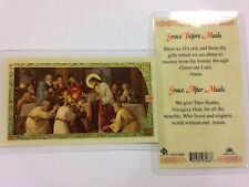 HOLY PRAYER CARDS FOR GRACE BEFORE & AFTER MEALS SET OF 2 IN ENGLISH FREE SHIP!