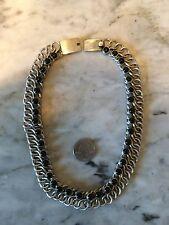 Vtg '80 Cleopatra collar choker onyx sterling silver 925 Taxco necklace 139 gr.