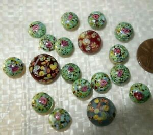 18   Vintage Czech   DECO figural   Glass  Jewelry  MILLEFIORI    CABACHONS