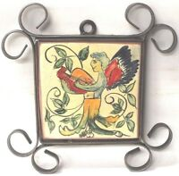 Mexican Vintage Mural with wrought Iron Frame Quinta Irma Mexico Pottery Angel