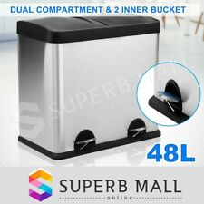 48L Stainless Steel Pedal Rubbish Bin Kitchen Recycling Rubbish 2 Compartment