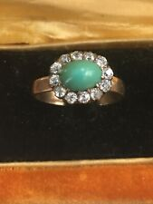 Antique Victorian Turquoise (Oval) &  Diamond (1/2 ct) Ring  14k Yellow Gold