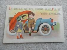 If you'll be my motor maid, I'll be your sparker  - Vintage 1914 Postcard