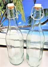 LOT OF 2 TALL PALE AQUA GLASS WIREBAIL WITH STOPPER DECORATIVE USABLE BOTTLE