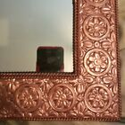 Vintage square homco wall mirror copper color embossed flowers metal