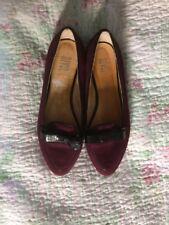 Deliziosa Riva scarpe da Piatto In Pelle Color Melanzana Con Fiocchi Taglia 40/7 indossato a malapena