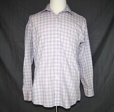 Michael Kors Mens Long Sleeve Shirt Size 15-1/2 Sleeve 34/35 Check Print Pink