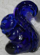 Blue Vaseline glass Sammy Squirrel Figurine uranium Cobalt paperweight chipmunk
