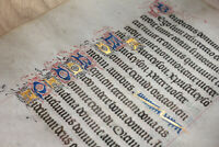 c1480 Latin decorated medieval manuscript 8 GOLD caps Book of hours psalm RARE