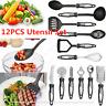 12P Cooking Utensil Set Stainless Steel Kitchen Gadget Nylon Handle Tool UK