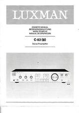 Bedienungsanleitung-Owner's Manual für Luxman C-03