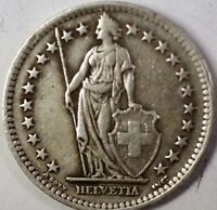 1946 B Switzerland 2 Francs Average Circulated Helvetia Silver Coin