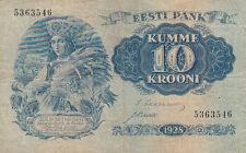Billet banque ESTONIE ESTONIA EESTI 10 krooni 1937 état voir scan 546